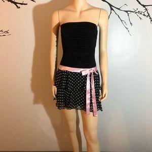 XOXO Black Strapless Polka Dot Dress